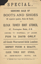Advert for the Clock Tower Boot Stores